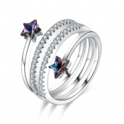 Adjustable Rings Sterling Silver Embellished with Star Crystals from Swarovski