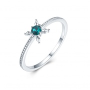 Engagement Ring 925 Sterling Silver Embellished with Crystals from Swarovski