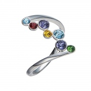 Sterling Silver Rings Embellished with Colored Crystals from Swarovski