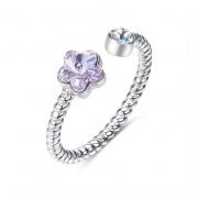 Adjustable Flower Engagement Rings Embellished with Crystals from Swarovski