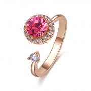 Rose Gold Adjustable Sterling Silver Rings Embellished with Crystals from Swarovski