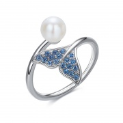 Dolphin Tail Adjustable Sterling Silver Rings Embellished with Crystals from Swarovski