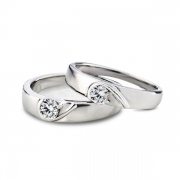 Half Heart Sterling Silver Couple Rings