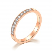 Rose Gold CZ Titanium Steel Wedding Bands