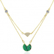 Gold Plated Malachite Necklace in S925 Sterling Silver