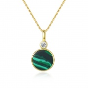 Round Malachite Pendant Necklace in 925 Sterling Silver