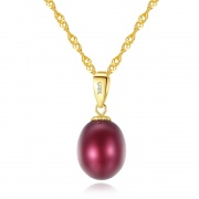 925 Sterling Silver Pearl Pendant Necklace Gold Plated