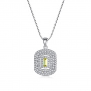 925 Sterling Silver Pendant Necklace with Square Gemstone