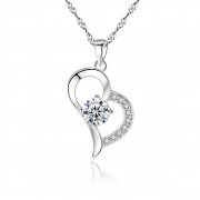 Heart Sterling Silver Pendant Necklace 1 Carat