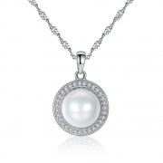 925 Sterling Silver Pearl Necklace with Micro Pave CZ