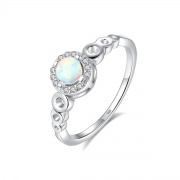 Opal Sterling Silver Ring with CZ