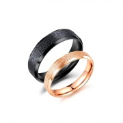 Matte Rose Gold and Black Couple Rings