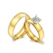 Gold Couple Promise Rings in Titanium Steel
