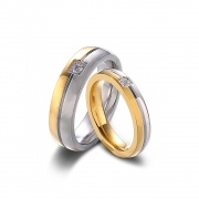 Gold and Silver Couple Rings in Titanium Steel