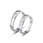 Footprint Couple Rings in Sterling Silver