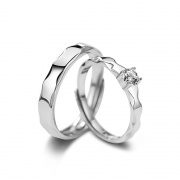 Simple Promise Couple Rings in Sterling Silver
