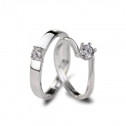 Sterling Silver CZ Couple Rings