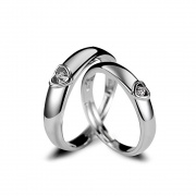 Heart Couple Rings Adjustable in Sterling Silver