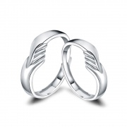Hug Couple Rings in Sterling Silver