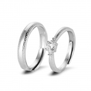 Adjustable Sterling Silver Cz Couple Rings