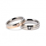 Rose Gold and Silver Titanium Couple Rings