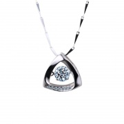 S925 Sterling Silver Triangle Pendant Necklace