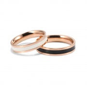 Rose Gold Couple Bands in Titanium Steel