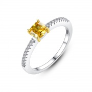 Yellow Gemstone Sterling Silver Rings Vintage Style