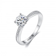 CZ Solitaire Rings in Sterling Silver