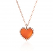 Sterling Silver Red Agate Heart Necklace