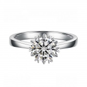 Flower 925 Sterling Silver Sona Diamond Rings with Platinum Plated