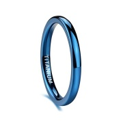 Blue Domed Wedding Bands in Titanium