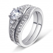 925 Sterling Silver High-end Two-in-one Micro-inlaid Ring Set