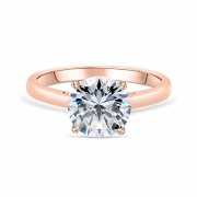 Rose Gold Classic Four Claws Sterling Silver Engagement Rings