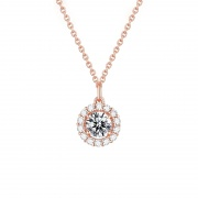 Rose Gold/Silver Round Pendant Sterling Silver Necklace