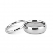 White High Polished Couple Rings in Titanium