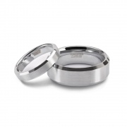Silver Couple Rings Brushed in Tungsten