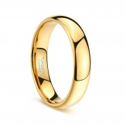 Gold Domed Polished Rings in Tungsten
