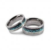 Turquoise Inlay Couple Rings in Titanium