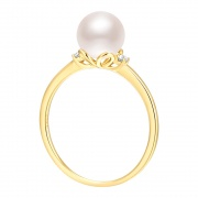 Gold Plated Pearl Inlay Rings In 925 Sterling Silver