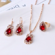 Water Drop Shaped Diamond Necklace Earrings Ring Sets