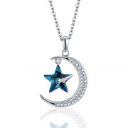 Fabulous Moon And Star Necklace With Swarovski Crystals