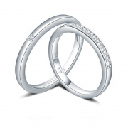 925 Stering Silver Romantic Proposal Couple Rings