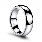 Classic White Polished Tungsten Rings