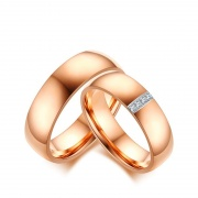 Rose Gold CZ Titanium Steel Couple Rings