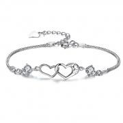 Purple/White Zircon Heart Clasp Sterling Silver Bracelet