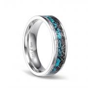 Turquoise Imitated Meteorite Ring in Titanium