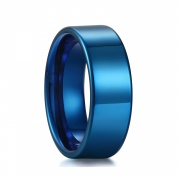 Blue Flat Tungsten Ring