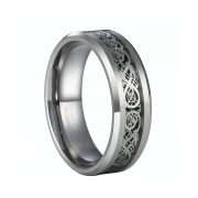 Celtic Dragon Wedding Bands in Tungsten