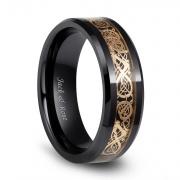Gold Celtic Dragon Ceramic Rings